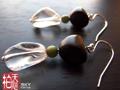 黑檀木非洲白水晶耳環