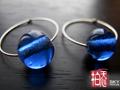 藍色老琉璃手工純銀耳環