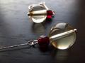 黃水晶印度石榴石銀耳環