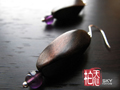 虎眼黑檀木·紫水晶耳環